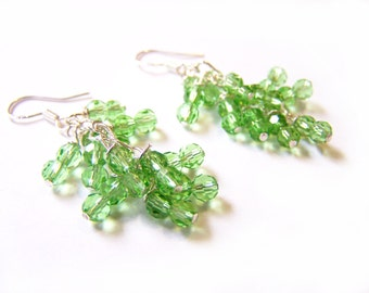 Peridot Swarovski Crystal Wire Wrapped Cluster Sterling Silver Earrings August Birthstone / Gift for Her