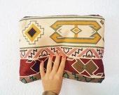 Turkish Traditional Kilim Pirint Tribal Fold Over Clutch Bag