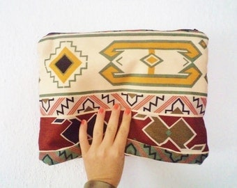 Kilim Pirint Tribal Fold Over Clutch Bag