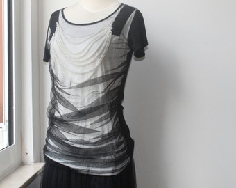 Tulle Top, Gothic Top, Black T Shirt, Vintage