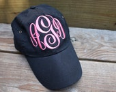 MONOGRAMMED Hat Available in Khaki, Navy, Black, White, Red, Light Pink & Pink