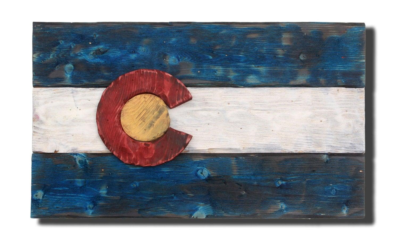 🔎zoom - 3D Colorado Flag Distressed Wood Wooden Vintage Art