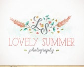 Premade Photography Logo / hand drawn feathers flowers Watercolor Design / Monogram