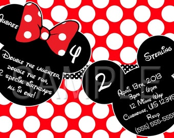 Joint Mickey and Minnie Mouse Invitations OR Thank you card
