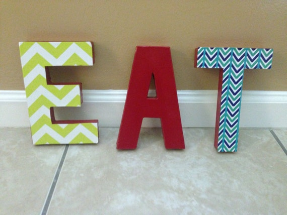 Colorful eat letters for kitchen decor by handmadebyhayman for Kitchen letters decoration