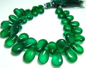 """Green Natural Quartz Smooth Big Pear Briolettes- 7"""" Strand -Stones measure- 7x10-15x10mm"""
