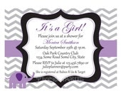 Chevron Elephant Baby Shower Invitation- Custom Digital File
