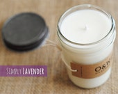Lavender, 8oz Soy Candle in a Reusable Glass Jar