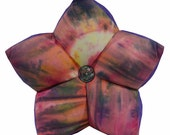 Sunburst Tie-Dye with Purple Accent Star Pillow