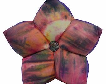 Sunburst Tie-Dye with Purple Accent Star Pillow