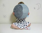 MR SLEEPY Full MOON  Grey Gray Pillow Cushion Full Moon Crescent Half Moon Baby Nursery Kids Room Childrens Home Decor