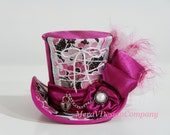 Mini Top Hat, Puchsia Pink Steampunk Hat, BirthdayTea Party Hat , Sexy Corset With Vintage Button & Heart Lock Charm READY TO SHIP