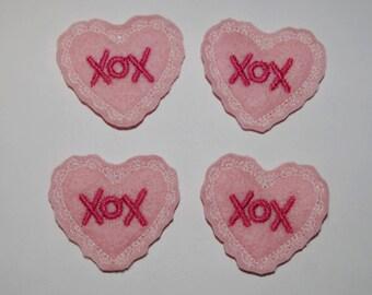 Set of 4 Pink Heart XOX Valentine Feltie Felt Embellishments