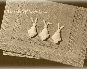 Baby Blanket  Knitting Pattern -  Little BUNNIES All in a ROW Baby Blanket -  3D Bunnies / So Adorable - Charming For Easter