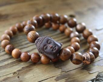 Buddha bracelet/ wood bracelet/ buddha jewelry/ wood jewelry