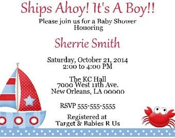 10 Sailboat/Nautical - Baby Shower Invitations