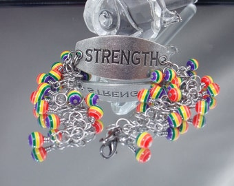 Stainless Steel Chainmaille Pride Bracelet