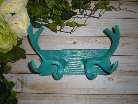 Teal deer antler wall hook coat hook cabin decor key - Antler key rack ...