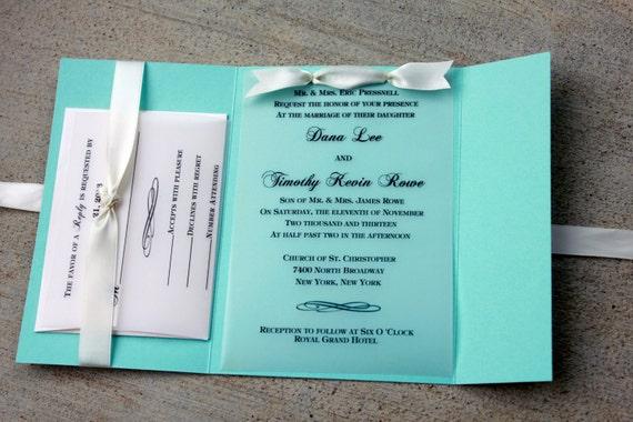 Robins Egg Blue Wedding Invitation Blue with White Ribbon