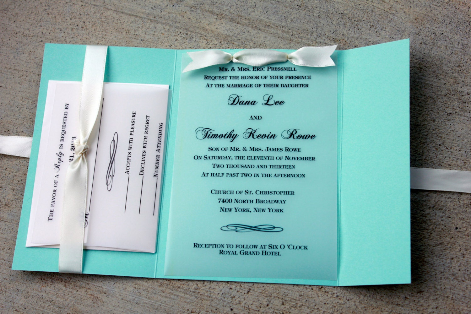 Dark Blue Wedding Invitations: Robins Egg Blue Wedding Invitation Blue With White Ribbon