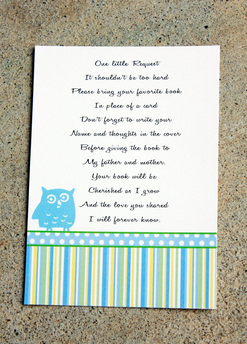 20 baby shower book insert cards baby shower book poems