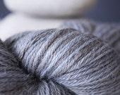 "CUSTOM ORDER . Hand Dyed Yarn Baby Alpaca and Silk . DK . Wild Lilac Moon's Iadore in ""Parula"" . Blue . Gray"