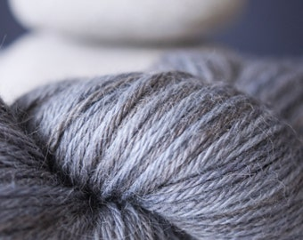 """Hand Dyed Yarn Baby Alpaca and Silk . DK . """"Parula"""" . Blue . Gray . 300 yards . Super Soft"""