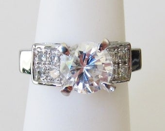 Sterling Silver Clear CZ Bow Ring Size 6, Vintage Ring