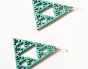Turquoise Sierpinski Pyramid Earrings