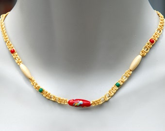 Vintage 1970's Bead and Woven Fiber Necklace