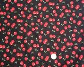 Cherry Cotton Fabric By The Yard. Black with Red Cherries. Robert Kaufman