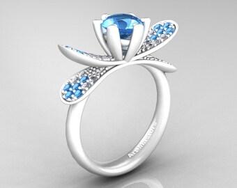 Organic Design 14K Ceramic White Gold 1.0 Ct Blue Topaz Diamond Nature Inspired Engagement Ring Wedding Ring R671-14KCWGDBT