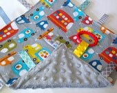 Baby Ribbon Sensory Blankie - Crinkle Toy - Busy Vehicles Cars & Trucks with Minky Blanket