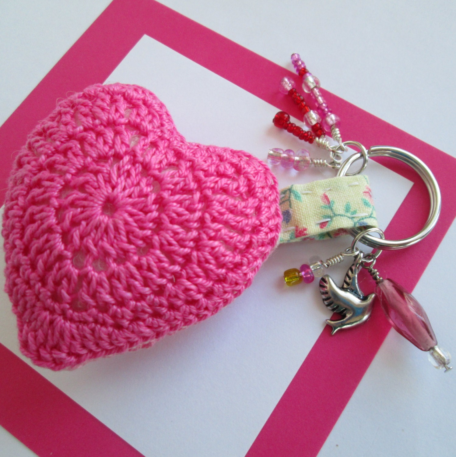 Crochet Keychain : Crochet Heart Keychain in Pink with Dove Charm by NirvanaDesigns