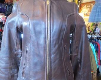 Chocolate Brown Vintage Women's Leather Jacket