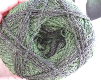 Green Black Kauni EKC 2 ply wool sport weight yarn. Knit Crochet and Felt. Imported from Denmark. Ships from USA