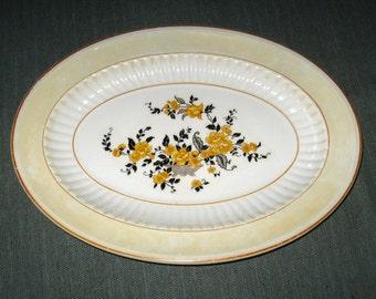 "1926 Knowles, Taylor, Knowles 11"" Oval Platter, Yellow Flowers, KTK10 Coronado"