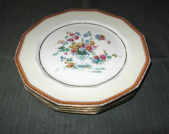 """4 Charles Ahrenfeldt Limoges 9-5/8"""" Dinner Plates Floral Vase Gold Trim 12-side"""