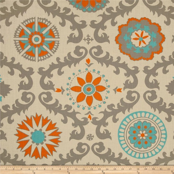Items Similar To 1 Pair Teal, Grey And Orange Curtain