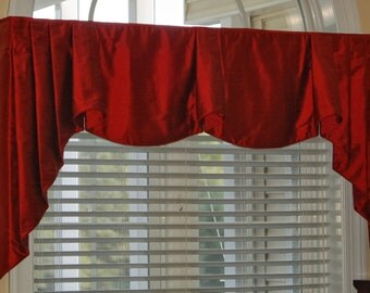 "Custom Made ANNA Hidden Rod Pocket® Valance, pleated jabots fits 67""- 90"" window, Window treatment made using your fabrics, my lining"