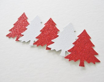 Christmas Gift Tags, Christmas Tree Die Cuts, Red White Glitter Paper Cut Outs Die Cuts, Holiday Christmas Decorations Tags Decor Set of 12