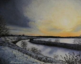 "Original oil painting ""Evening light"" 12""x16"""