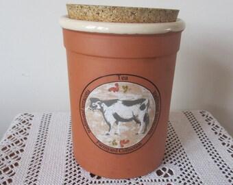 Vintage Kitchen Terracotta Tea / Coffee Jar Caddie  Farmyard Collection SALE ITEM