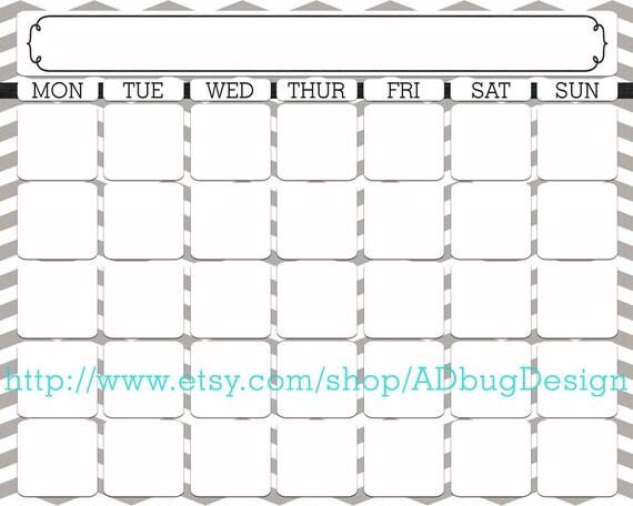 Blank Calendar Horizontal : Items similar to janie full horizontal calendar