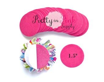 """Hot Pink Felt Circles- 1.5"""" Felt Circles- Self Adhesive Felt Circle- 1.5 Inch Felt Circles- Die Cut Felt Circle- Wool Felt Circle- Wholesale"""