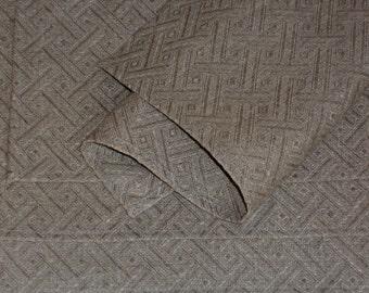Linen napkins set of 4 natural gray dinner serviettes linen placemats with geometric rhomb pattern