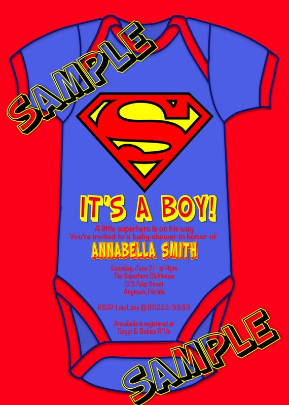 superhero superman baby shower it 39 s a boy party invitations u print
