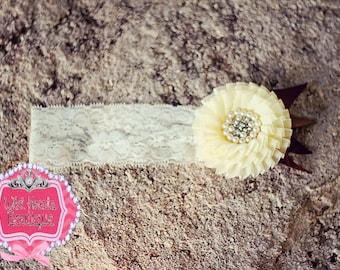 Ivory Chiffon Rose on lace Headband, Pearl Headband, Bridal Hair, Wedding Hair, Roses, Ivory and Brown, Pearl Bead,