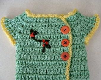 Crochet Baby Girl Sweater Kimono Style Green