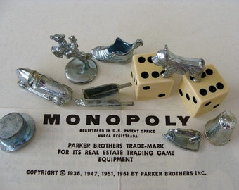 1961 Monopoly 8 Tokens & Dice Includes Retired Iron